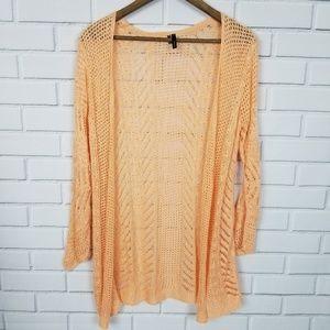 Maurices Orange Long Sleeve Knit Cardigan Sweater